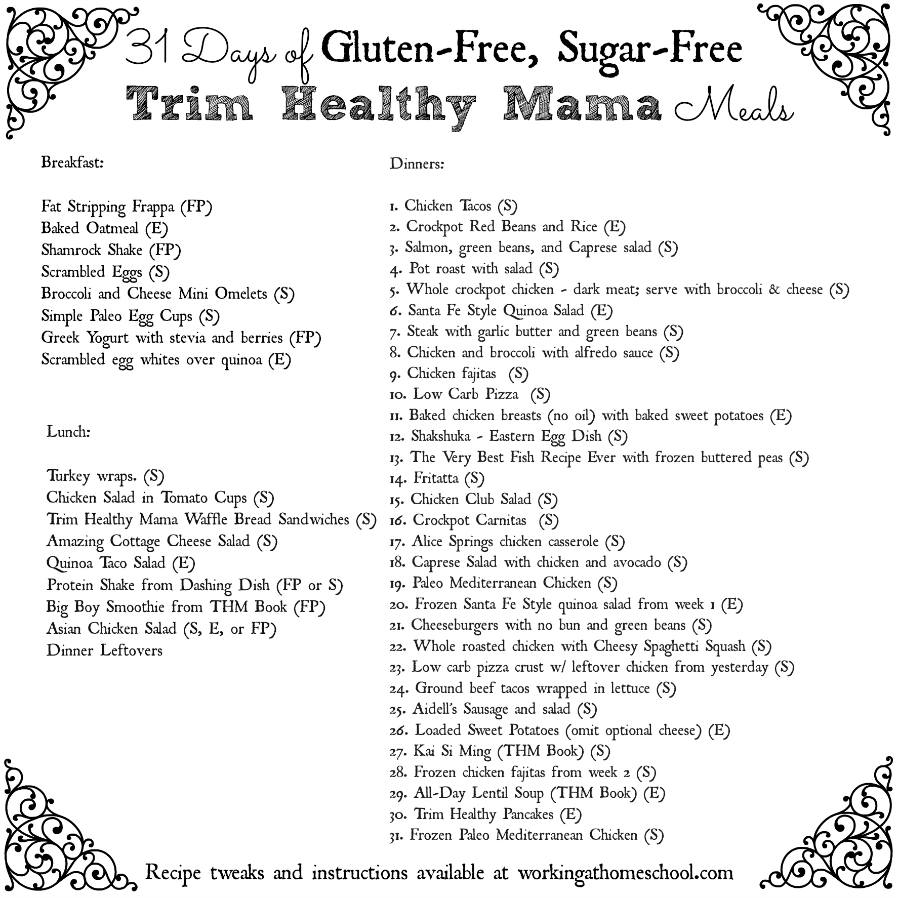 THM Menu with printable shopping lists